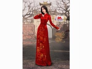Vải áo dài nhung đính đá 9187-10-9 của vải áo dài Kim Ngọc