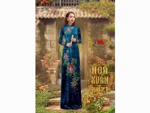 Vải nhung đính đá 9203-14 của vải áo dài Kim Ngọc