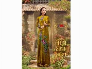 Vải áo dài nhung đính đá 9203-71 của vải áo dài Kim Ngọc