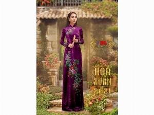 Vải áo dài nhung đính đá 9203-52 của vải áo dài Kim Ngọc