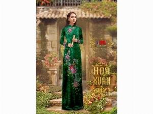 Vải áo dài nhung đính đá 9203-28 của vải áo dài Kim Ngọc