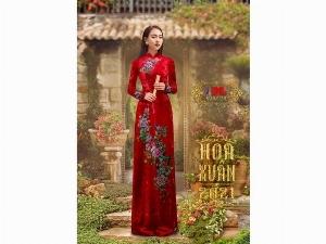 Vải áo dài nhung đính đá 9203-10 của vải áo dài Kim Ngọc