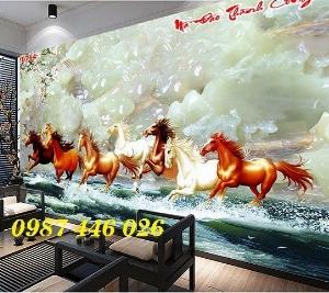 Gạch tranh ngựa 3d, tranh gạch men ốp tường HP745