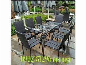 Bàn ghế cà phê giả mây giá xưởng nội Thất Nguyễn Hoàng Sài Gòn