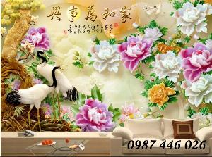 Gạch tranh chim hạc sứ ngọc 3d HP273