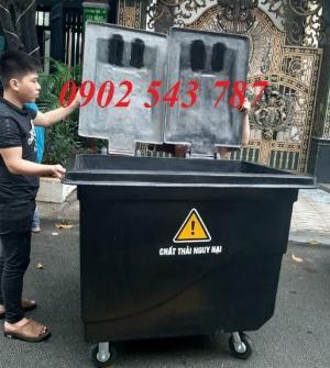 Xe thu gom rác nhựa 1000 lít , thùng rác 660 lít nhựa composite