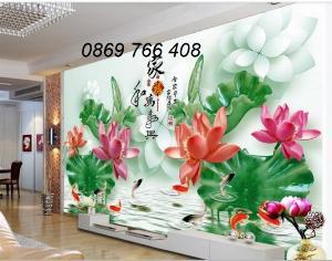 Tranh gạch men-gạch tranh hoa sen 3d