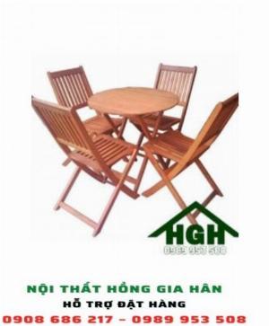 Bộ bàn ghế gỗ chân xếp HGH7