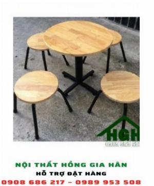 Bàn ghế mặt gỗ chân sắt HGH8