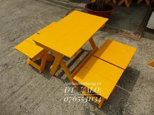 Bàn ghế gỗ xếp gọn