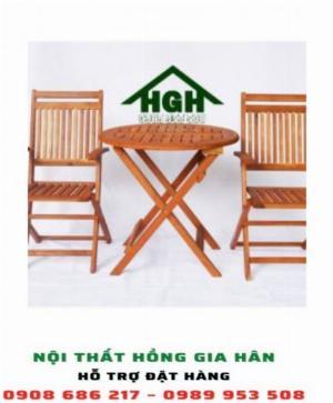 Bộ bàn ghế gỗ chân xếp HGH5