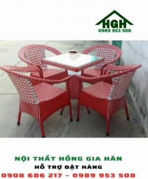 Bộ bàn ghế mây nhựa HGH6