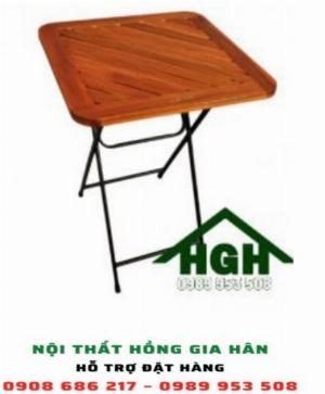 Bàn cafe mặt gỗ chân sắt HGH14