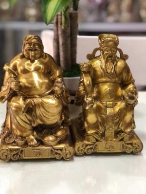 Thần tài thổ địa vàng cao 19cm