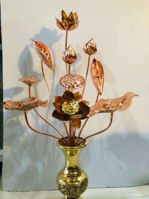 Hoa sen thờ cúng bằng đồng đỏ cao 70cm