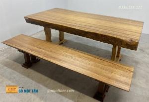 Bộ bàn gỗ Lim vân sáng tuyệt đẹp dày 13 phân