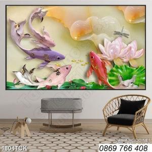 Tranh cá chép, hoa sen-tranh gạch men