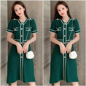 Đầm len phối viền trắng - HK