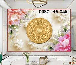 Gạch tranh 3d hoa mẫu đơn Trống đồng HP47865