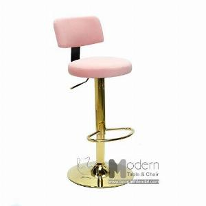 Ghế bar tăng giảm chiều cao có lưng tựa bọc vải nhung chân vàng