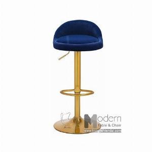 Ghế bar tăng giảm màu vàng thân bọc vải nhung hiện đại