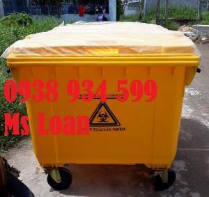 Xe thu gom rác thải 660 lít 4 bánh xe nhựa HDPE, thùng rác nhựa lớn 660 lít