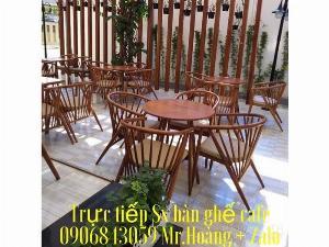 Bàn ghế cafe gỗ nệm giá tốt - nội thất Nguyễn Hoàng