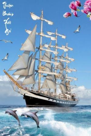 Thuyền buồm lướt sóng - tranh gạch