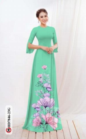 Vải áo dài hoa đẹp được thiết kế đôc đáo của Vải Áo Dài Kim Ngọc HD 7846