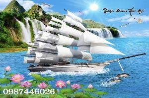 Gạch tranh thuyền buồm- tranh thuận buồm xuôi gió HP032