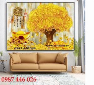 Gạch tranh cây tiền vàng tài lộc 3d HP720