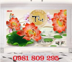 Tranh gạch 3d hoa sen chữ phúc