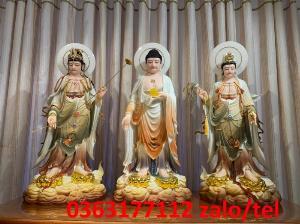 Thỉnh tượng phật Tây Phương Tam Thánh đứng bằng bột đá Đài Loan cao cấp