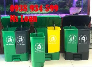 Thùng phân loại rác 2 ngăn,thùng rác đạp chân 2 ngăn 40 lít