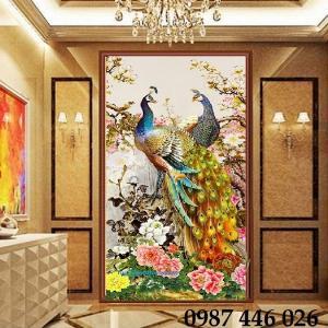 Gạch tranh ốp tường, tranh gạch chim công ngọc bích 3d HP4714