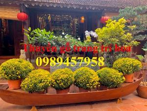 Xuồng gỗ trang trí hoa tết, Thuyền gỗ trang trí hoa 2m, 2,5m và 3m giá rẻ