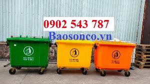 Xe đảy rác công cộng 660 lít nhựa HDPE