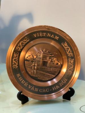 Đĩa quà tặng Khuê Văn Các bằng đồng đỏ