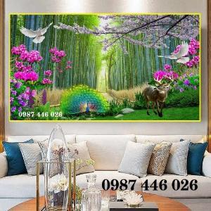 Gạch tranh hàng cây rừng tre HP068