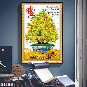 Gạch tranh hoa mai vàng ốp tường HP9211