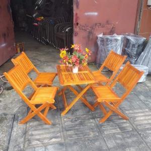Bộ bàn ghế gỗ xếp cafe