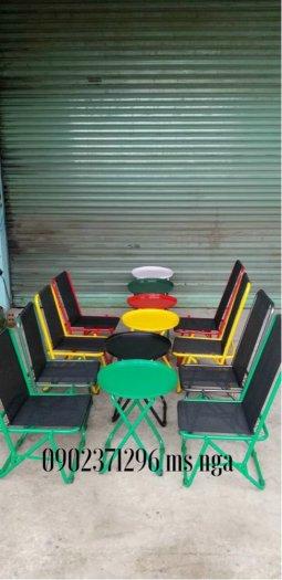 Ghế xếp sắt đa màu dành cho cafe-ăn vặt trà sữa