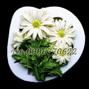Khuôn silicon làm rau câu cành hoa cúc họa mi - Mã số 445