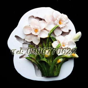 Khuôn silicon làm rau câu cành hoa thủy tiên - Mã số 444