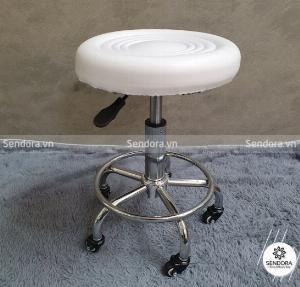 Ghế xoay Spa không tựa giá rẻ màu trắng GHEKT038
