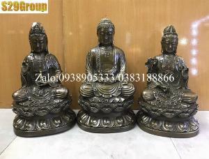 Bộ Tam Thế Phật bằng đồng đen cao 38cm