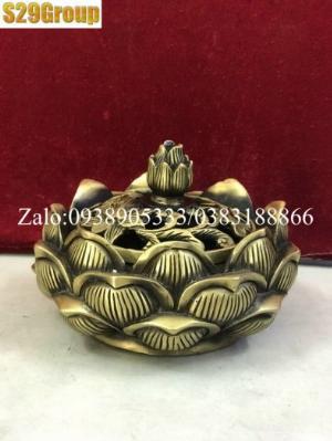 Xông Trầm sen thấp bằng đồng cao 8.5cm