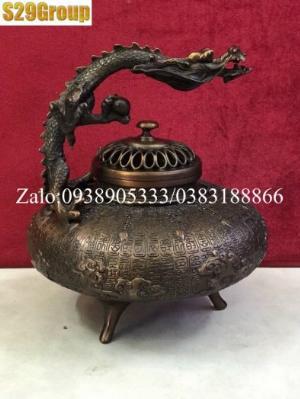Xông Trầm quai rồng nâu bằng đồng cao 22cm