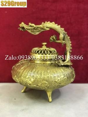 Xông Trầm quai rồng vàng bằng đồng cao 22cm