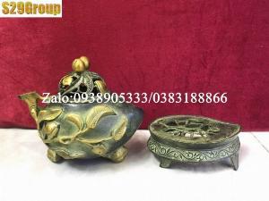 Xông trầm quả đào bằng đồng cao 20cm